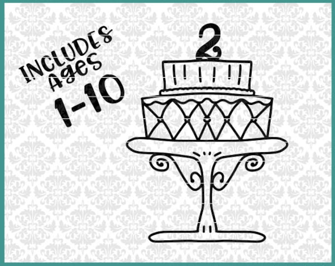 CLN0470 Birthday Cake With Age 2nd Third 4th Fifth 6th 7th SVG DXF Ai Eps PNG Vector Instant Download Commercial Cut FIle Cricut Silhouette