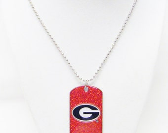 Sparkly Red Georgia Bulldogs Tag Pendant Necklace