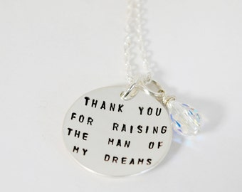 mother in law hand stamped sterling silver necklace man of my dreams gift from bride