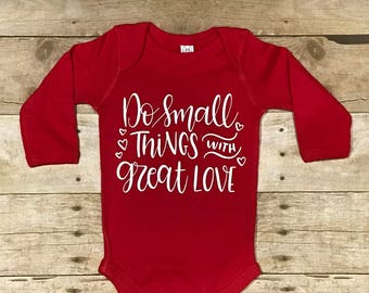 Do Small Things with Great Love Red Infant Long-Sleeve Baby Rib Bodysuit