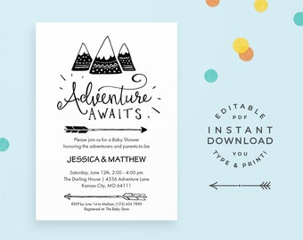 """Adventure Baby Shower Invitation: Printable PDF. """"Adventure Awaits"""" with mountains and arrows, for modern boho and rustic baby showers."""