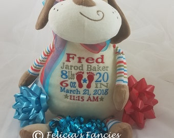 Embroidered Birth Announcement Birth Block or Name Dog Pastel Stuffed Plush Animal Personalized Baby Gift, Felicia's Fancies Baby Boutique