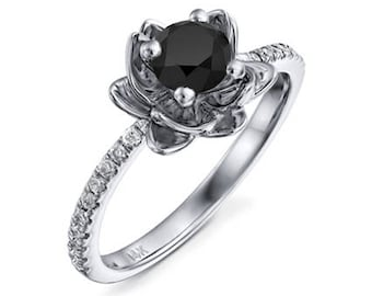Round Cut Black Diamond Engagement Ring 14k White Gold or Yellow Gold Flower Design Diamond Ring Art Deco Anniversary Ring