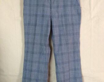 1970s Patterned Pants - Plaid Pants - Blue Pants - size Large - Hipster - Golf - Disco
