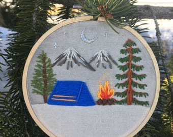 Snuggle up | Embroidery art | camping scene