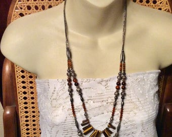 Tribal design tigers eye amber beads double strand necklace