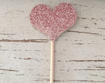 Glitter Heart, cupcake toppers, wedding, Bridal shower, birthday, anniversary party, engagement party, bachelorette, Love, Decor,