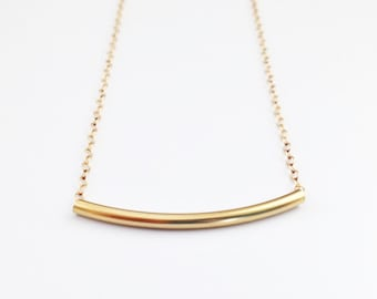 Gold Curved Bar Necklace - Gold Filled Tube Necklace - Delicate Layering Necklace by Pink Twig