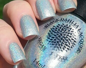 Light Green Holo Shimmer Micro Glitter Nail Polish -- Magical Moss by Black Dahlia Lacquer - Celery Holo Poland