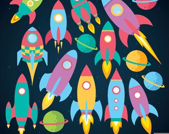 Rockets Digital Clipart,  Rocketship Clipart, Space Clipart, Planet Clipart