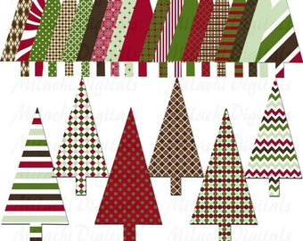60% OFF SALE Christmas tree digital clip art, holiday tree clipart, commercial use, instant download - M150