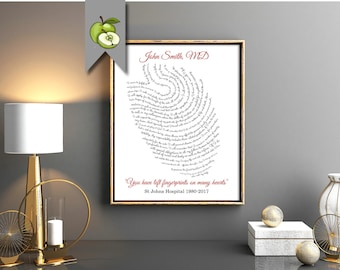 Doctor art, Appreciation art, You left fingerprints on our hearts, retirement gift, medic, Personalised, printable, Hippocratic oath
