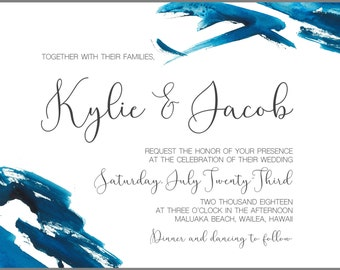5x7 Invitation or Save the Date Card - Blue Waves Watercolor Art - Digital Download PDF