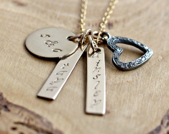 Personalized Gold Necklace, Personalized Family Necklace, Diamond Heart, Personalized Mommy Necklace, Valentine Gift - Candace Necklace