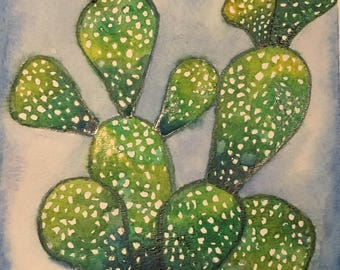 Spotted Green Cactus Watercolor Painting 7x11 Original Handmade Art Wall Decor Office Space