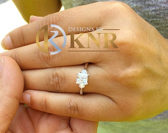 14k solid white gold princess and round cut diamond engagement ring three stone style bridal wedding anniverday ring 1.50ctw