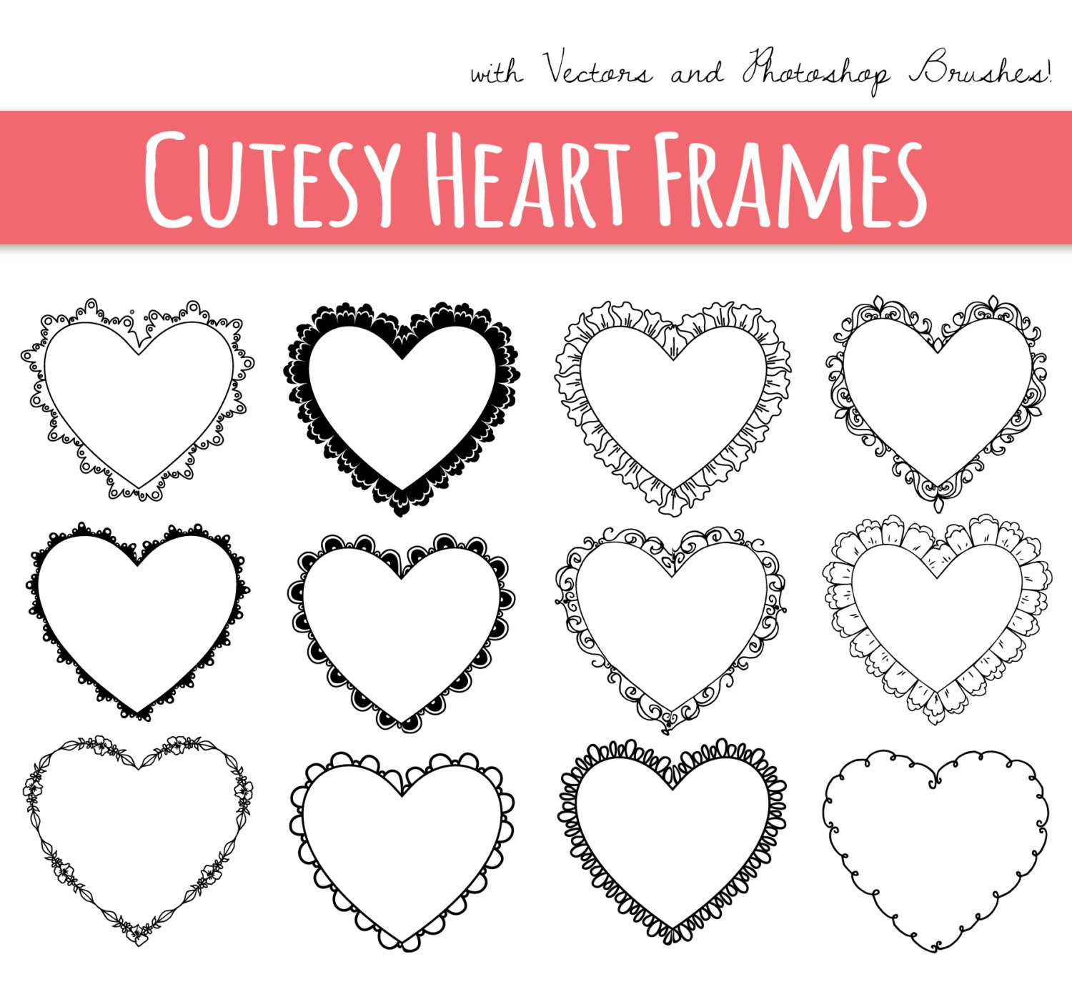 CLIP ART: Heart Frames // Digital Frame // Decorative Border