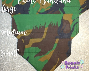 Dog Bandana - Camo - Green and Brown - Can Be Personalised - Various Sizes