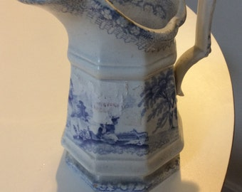 Staffordshire Blue & White Creamer