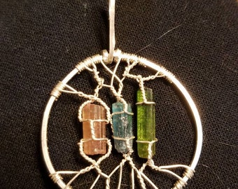 Circle Sterling Silver Tourmaline Pendant Necklace