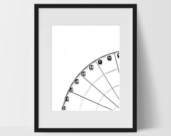 Wall Print Art, Ferris Wheel Art, Wall Decor, Digital Art Print, Ferris Wheel Prints, 8x10, Carnival, State Fair, Black and White