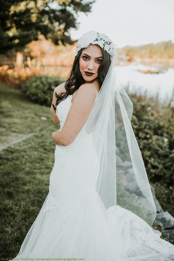 Ivory Wedding Veil, Bridal Cathedral Veil, Juliette Veil, Boho Veil, Elegant Veil, Lace Veil, Wedding Vail, Fascinator, Hat Veil, Bride
