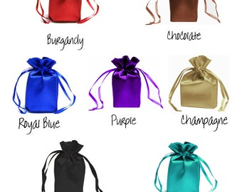 5x7 inch SATIN SELECT COLOR custom list - drawstring bags gift favor party, bridal Black Chocolate Burgundy jewelry