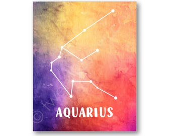 Aquarius Watercolor Poster, Constellation Star Art, Aquarius Gift, Aquarius Wall Art, Aquarius Canvas, Custom Aquarius Art, Zodiac Art Print