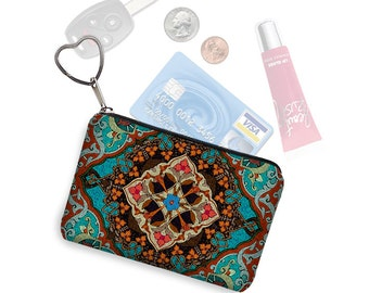Small Zipper Pouch Coin Purse Keychain Key Fob Boho Business Card Holder  Bohemian Mandala Kaleidoscope  turquoise blue orange red  RTS