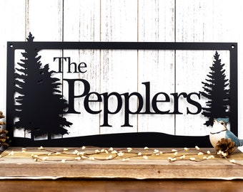 Custom Name Sign | Metal Sign | Personalized Sign | Lake Home Decor | Cabin Decor | Name Sign | Metal Wall Art | Outdoor Sign | Pine Trees