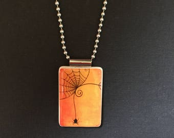 Cobweb necklace, handmade halloween jewelry, cobweb jewelry, halloween pendant, Orange and Black Halloween jewelry, spider jewelry