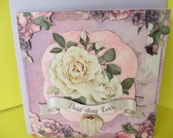 Vintage White Rose 3D card