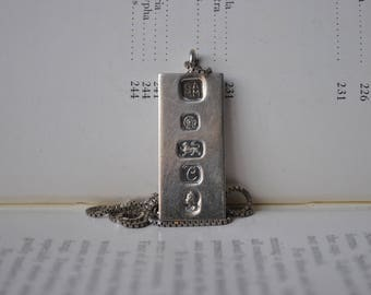 Vintage Sterling Ingot Pendant -1977 Contemporary Sterling Jubilee Ingot Necklace, Free Shipping