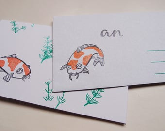 "stationery ""koi fish"" koi carp mail"