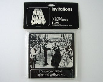 13 Vintage Invitations, Gone With The Wind Film Dance Scene, 1 Extra Envelope, Scarlett O'Hara and Rhett Butler (Vivien Leigh & Clark Gable)