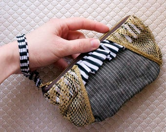Night Circus // one of a kind wristlet - lined zipper pouch - linen gold black white - pinstripe - mori girl carnival - Handmade in USA