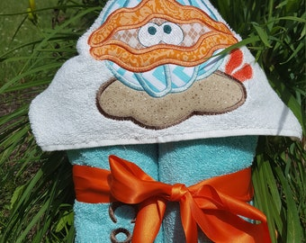 Clam Beach Towel-Hooded Beach Towel-Pool Towel-Beach Towel-Beach Towel Personalized