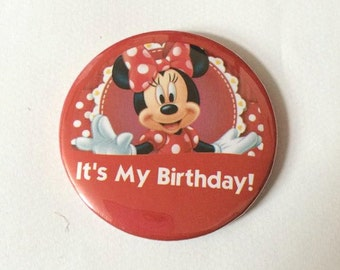 """Minnie Mouse Red """"It's My Birthday!"""" Disney Parks Inspired Celebration Button/Pin/Badge"""