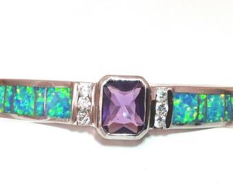 Opal and Amethyst CZ Bangle