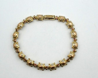 14K Gold Ruby-Eyed Turtle Link Bracelet