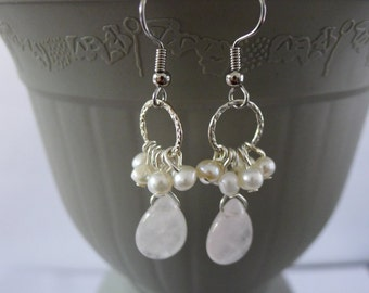 Rose Quartz and Pearl on SIlver Ring-Lena Earrings