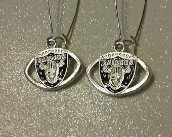 Raiders Earrings Silver Football Earrings Raiders Gift For Her Raiders Jewelry Raiders football earrings Raiders accessory