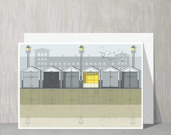 SALE Brighton Architecture Blank Card - Beach Huts