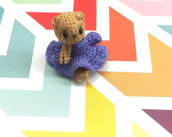 3/4 inch micro miniature crocheted bear made from thread