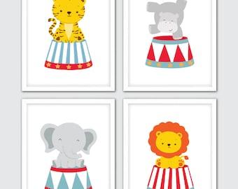 Circus Animals Nursery Prints, Circus Themed Print Set, Circus Themed Poster, Circus Theme Decor, Circus Print Nursery, Nursery Print Circus