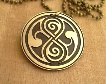 Handmade Doctor Who Necklace, Seal of Rassilon Pendant brass Pendant, gift for Her Him, jewelry