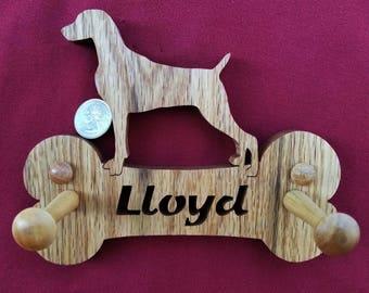 Weimaraner, Personalized, Custom, DOG LEASH HANGER (Holder), Dog, Includes your Dog's Name, Dog Bone, Dog Name, Leash Holder