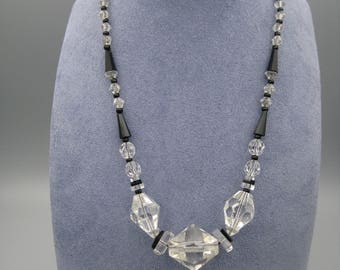 Crystal and French git, Art Deco necklace