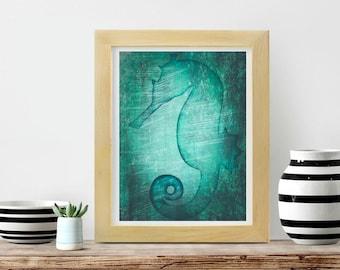 Seahorse Print, Ocean Prints, Animal Prints, Seahorse Wall Art Print, Large Printable Poster, Digital Download Color, Nursery Wall Art