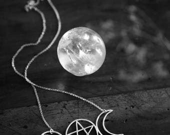 Esbat II. Triple-Moon Totem with Pentacle. OOAK (sterling silver - symbol of feminine energy, growth, evolution, mystery, psychic abilities)